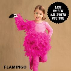 Feather boas transform into a super-cute flamingo costume for Halloween!