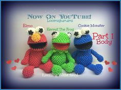 Rainbow Loom BODY for Kermit The Frog. Cookie Monster (Part 1 of Loomigurumi Amigurumi. Registered Copyright pattern number In this Video I will be showing you how to crochet, and create the LEGS ARMS BODY Collar for Kermit The frog Rainbow Loom Tutorials, Rainbow Loom Creations, Rainbow Loom Bands, Rainbow Loom Charms, Rubber Band Crafts, Rubber Bands, Rainbow Loom Animals, Crazy Loom, Elmo Cookies