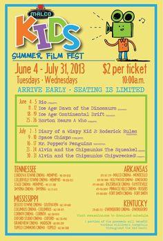 Malco Theatres- Summer Film Fest Schedule