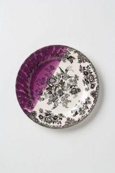 Dipped Toile Dessert Plate, Purple Motif Anthropologie