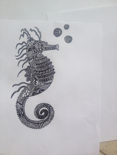 Zentangle seahorse drawing