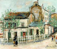 Cabaret du Lapin Agile Artwork by Maurice Utrillo Hand-painted and Art Prints on canvas for sale,you can custom the size and frame
