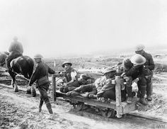 The Battle of Flers Courcelette 15 - 22 September: Canadian wounded being taken to a Dressing Station on a horse-drawn light railway. THE BATTLE OF THE SOMME, JULY-NOVEMBER 1916