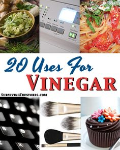 20 ways to use vinegar - cleaning, BBQ sauce, cupcakes, cleaning makeup brushes, & more!