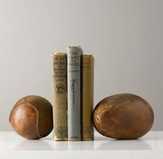 Vintage Leather Sportsball Bookend | Bookends | Restoration Hardware Baby & Child