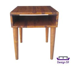 AmazonSmile: Design 59 inc Mid-Century Modern Acacia Hardwood Side / End Table / Night Stand, NO TOOLS REQUIRED: Kitchen & Dining