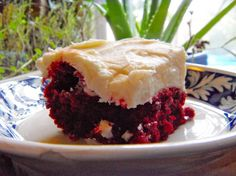 Red Velvet Brownies with White Chocolate Icing.
