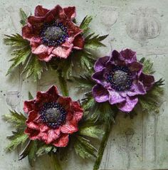 Botanical embroidery, textile art, 3d assemblage, stumpwork, by Corinne Young