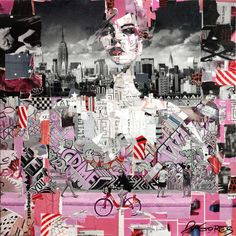 "Collage Artwork: Collage Art by Derek Gores 'Full Volume Pink Graffiti"" 24"" x 24"" collage on canvas. contact derek(at)derekgores dot com"