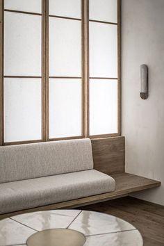 Banquette seating detail living rooms Ideas for 2019 Spa Design, Salon Design, Studio Design, Japanese Living Rooms, Design Minimalista, Japanese Interior Design, Spa Interior Design, Japanese Design, Banquette Seating