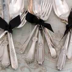 eclectic silverware from thrift stores, tied with velvet ribbonLa Maison Gray INTERIORS Farmhouse Table For Sale, Fresh Farmhouse, Caramel Color, Wedding Ring Bands, Vintage Silver, Blackberry, Tablescapes, Tea Party, Black Silver