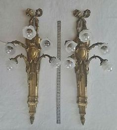 """PAIR HUGE 41"""" ANTIQUE FRENCH EMPIRE BRASS BRONZE 5 LIGHT WALL SCONCES ROSES"""