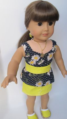 5 Piece Navy And Yellow Daisy 18 Doll by MarysPintsizedPieces, $27.50