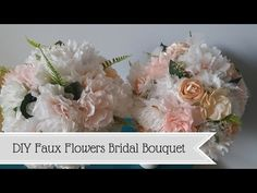 DIY faux flowers bridal bouquet- using paper and ribbon flowers! All upcycled and affordable materials for a bride on a budget! What a great way to add a personal touch to your wedding with this easy craft!