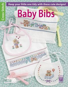 Baby Bibs - Keep your little one tidy with baby bibs featuring cute cross stitch designs. Perfect for prefinished bibs with evenweave stitching areas, designs include teddy bears entwined with ribbon and eyelet lace, holding tulips and balloons, and surrounded by mini motifs of favorite foods. There also is a sweet-faced moon with the popular ìI see the moonî verse, and a striped alphabet to stitch in rainbow or princess colors.