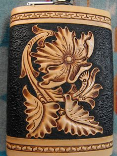 Hand Tooled Leather Sheridan Flask