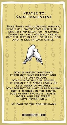 St Valentine Prayer Card