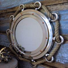 Nautical Nickel Finish Rope Porthole Mirror