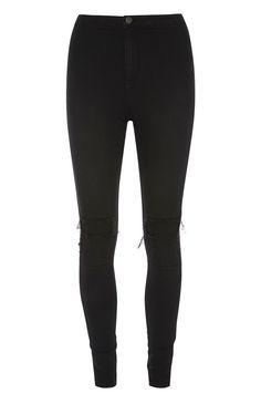 Zwarte hoge skinny jeans met scheuren