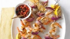 Recipes - Shrimp Kabobs with Olive and Tomato Relish Cooking #Recipes #recipe #cook #food
