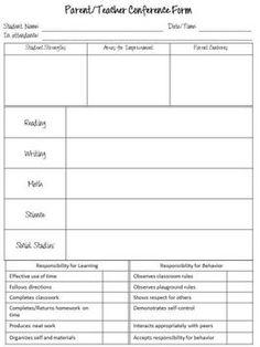 63 Best Parent Teacher Conference Form Images Parent Teacher