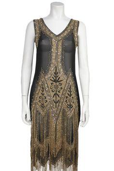 Black and Metallic Beaded Flapper Dress – Screaming Mimis