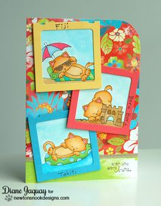 Kitty Beach Card by Diane Jaquay for Newton's Nook Designs - Inky Paws Beach Challenge