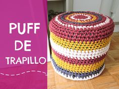 Puff de trapillo tutorial paso a paso Crochet Pouf, Crochet Headband Pattern, Tapestry Crochet, Crochet Gifts, Crochet Edging Patterns, Crochet Designs, Mantel Redondo A Crochet, Cotton Cord, Beginner Crochet Tutorial