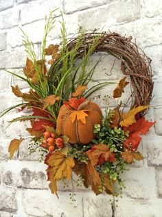 Pumpkin Fall Wreath for Door Pumpkin Wreath by AdorabellaWreaths