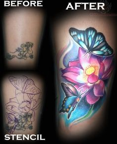 I want this look so similar as this one on this butterflies and flower tattoo photo.