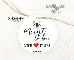 """24 Meant To Bee Tag 2""""/5.5cm_Choose Tag/Sticker_ Wedding Sticker_ Meant to Bee Wedding Gift Tag/STICKER_Any Color/Language Mark 4, Wedding Gift Tags, Wedding Stickers, Bee, Language, Paper, Unique Jewelry, Handmade Gifts, Etsy"""