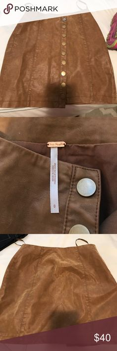 Free people brown tan leather skirt size 0 Worn once! Perfect shape, just too small for me in the butt Free People Skirts Mini