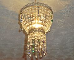 Unique Chandelier Lampshade Waterfall Light Glass Vitrail Gothic Rainbow Droplets Gyspsy Drops Crystals Vintage Antique Style Pendant Shade by SeearLights on Etsy https://www.etsy.com/listing/226604527/unique-chandelier-lampshade-waterfall