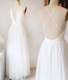 Simple white v neck tulle long prom dress, white evening dress