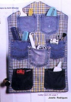 For when I feel like organizing. ANDYAAF: Different manualidades con jeans Diy Jeans, Jean Crafts, Denim Crafts, Recycled Denim, Recycled Fabric, Diy Craft Projects, Sewing Projects, Artisanats Denim, Jean Diy