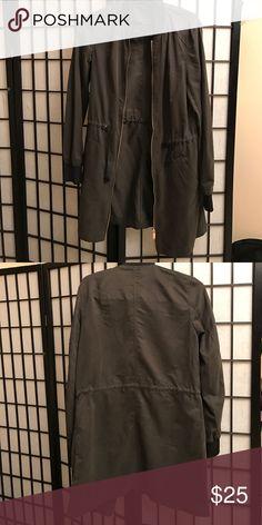 H&M Olive Longline bomber jacket. H&M Olive green Longline bomber jacket. Thin material. Super trendy! H&M Jackets & Coats Trench Coats