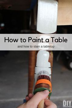How to paint a table and stain a tabletop. Step by step tutorial using Fusion Mineral Paint. Room table makeover How to Paint a Table and Stain a Tabletop