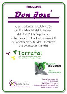 Con motivo del Día Mundial del Alzheimer Grupo Hostal va a colaborar activamente con la Asociación Torrafal.