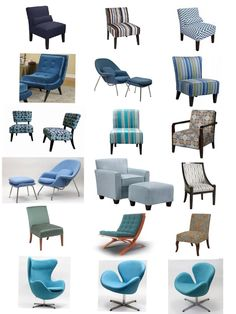 Blue Upholstered Chairs and Slipcovers  www.UpholsterEase.com