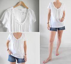 DIY pour customiser un t-shirt blanc avec des franges I DIY white fringe tee on www.les-selectives.com