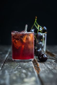 Black Cherry Bourbon Cola Smash Cocktail: black cherries + bourbon + cherry brandy + lime juice + cola to top up (or ginger beer, soda water)