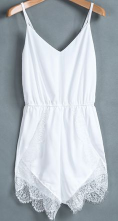 White Spaghetti Strap Lace Chiffon Jumpsuit. need one so bad