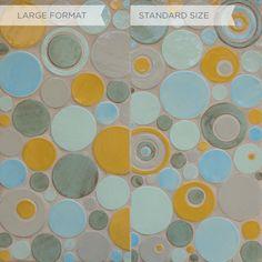 Yellow, grey and blue circle tile