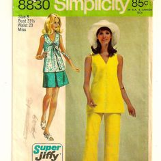 A Quick Sew Front Pleat Mini Skirt, Sleeveless Low V-Neck Overblouse & Pants Pattern, ©1970