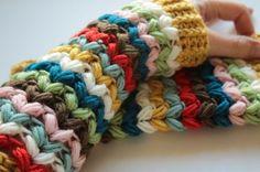Zingtastic Mitts colorful fingerless gloves #crochet pattern for sale from @sandracherryhrt