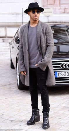 Trendy: Lewis Hamilton looked stylish on Monday as he attended Stella McCartney's Paris Fa...