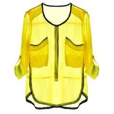 Womens Yellow Pockets Front Long Sleeve Chiffon Blouse