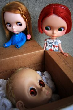 The Blythe dolls were aghast at their discovery.- what fresh hell is this?- Poor little Miss No Name - Flickr
