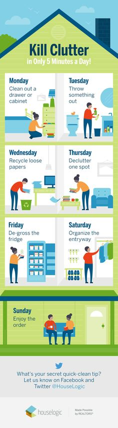 Make a schedule. That's all it takes to banish #clutter from your #home for good. Here's how to do it. #organizingclutter