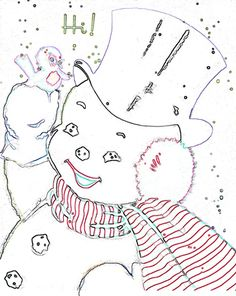 Color Page For Vintage Snowman